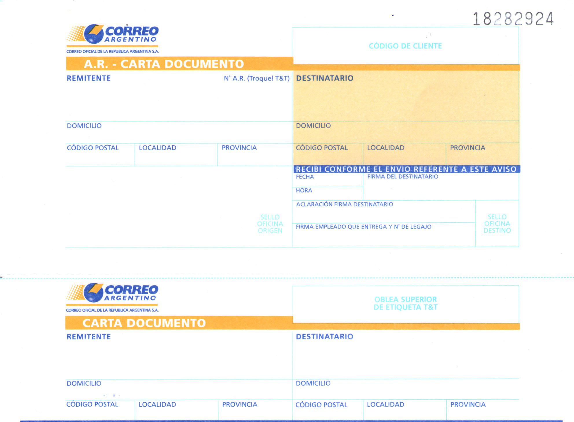 Software para Redacción e Impresión de Telegramas y Cartas Documento.